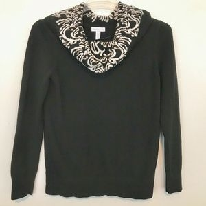 Charter Club Womens Cowl Neck Sweater In Deep Blac
